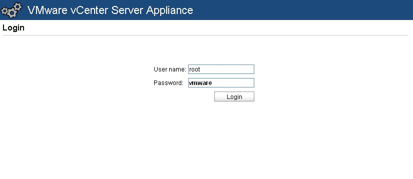 Default Password of VMware vCenter Server Appliance