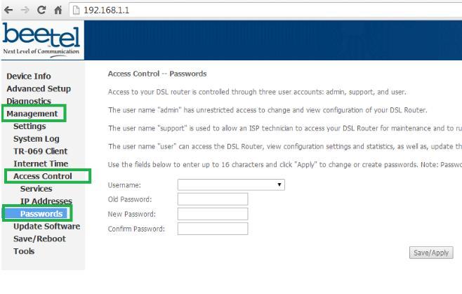 To change the Beetel Modem Default Password