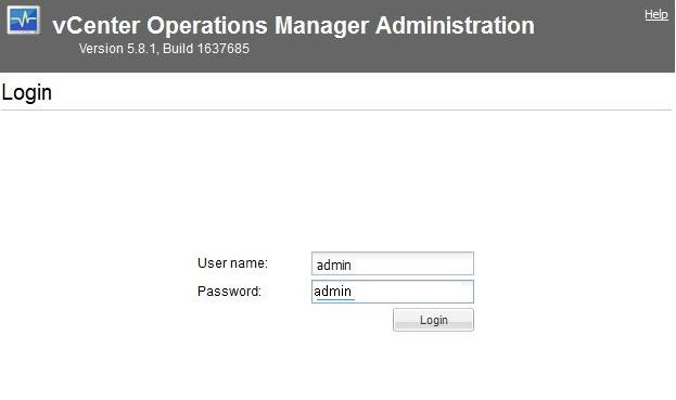 vCenter Operations Manager Default Password
