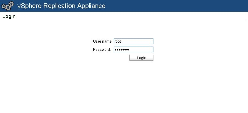 vSphere Replication Appliance Login Password
