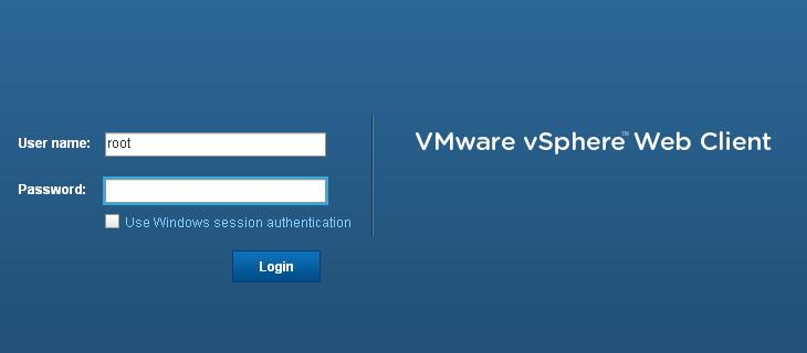 vSphere Web Client Default Admin Password