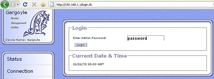 Gargoyle Defaults Admin Password