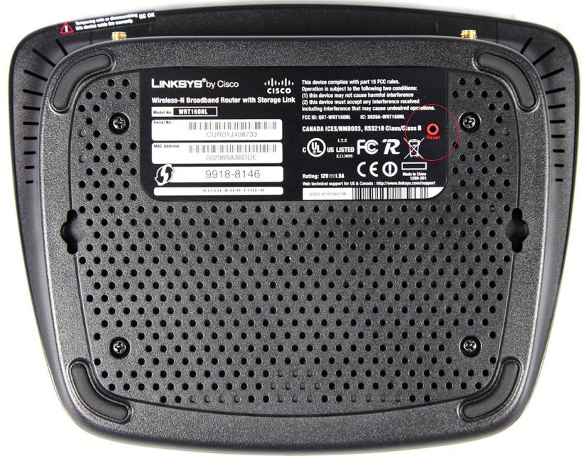Factory Reset Linksys wrt160n