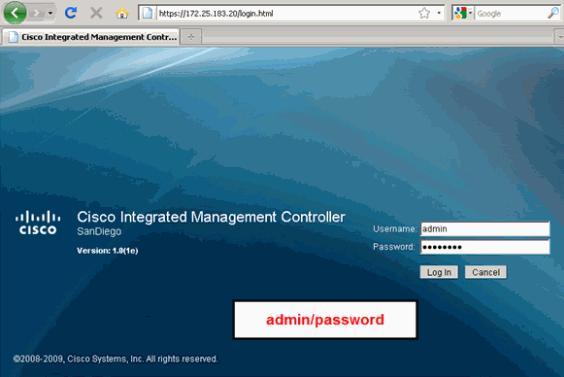 Cisco UCS default password for CIMC KVM Console BIOS