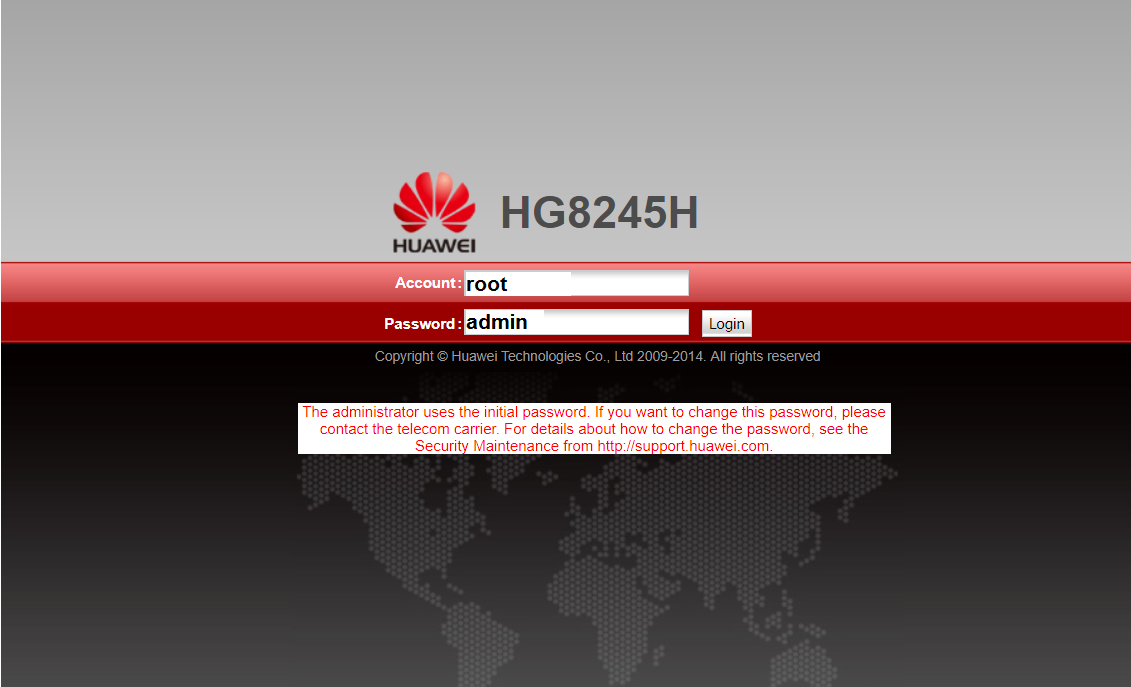 Huawei-HG8245H password